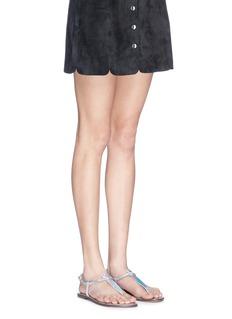 SAM EDELMAN'Gigi' holographic T-strap flat sandals