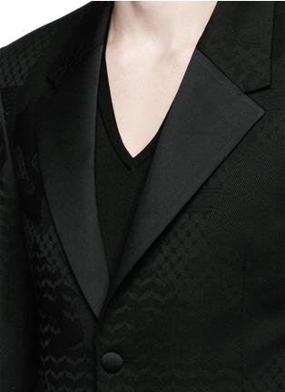 细节 - 点击放大 - NEIL BARRETT - 几何叶纹暗花混羊毛礼服外套