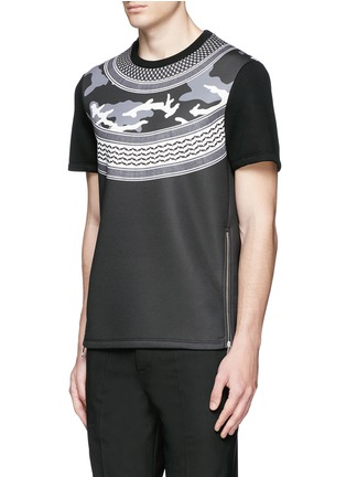 Front View - Click To Enlarge - Neil Barrett - Keffiyeh check camouflage print neoprene T-shirt