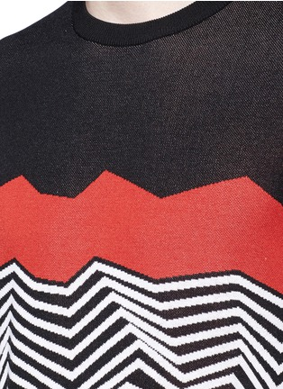 Detail View - Click To Enlarge - Neil Barrett - Angular stripe knit top