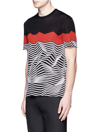 Front View - Click To Enlarge - Neil Barrett - Angular stripe knit top
