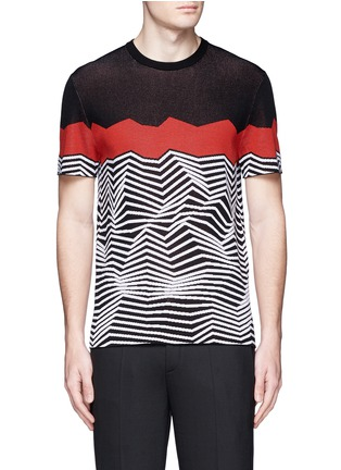 Main View - Click To Enlarge - Neil Barrett - Angular stripe knit top