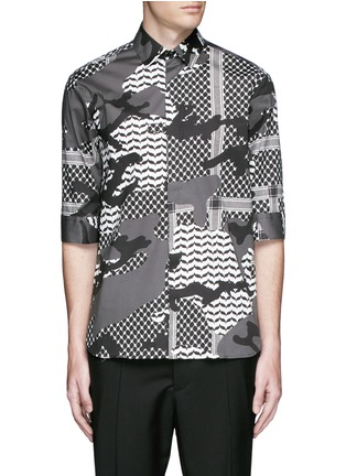 Main View - Click To Enlarge - Neil Barrett - Keffiyeh check camouflage print cotton shirt