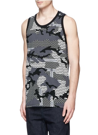 Front View - Click To Enlarge - Neil Barrett - Keffiyeh check camouflage print tank top