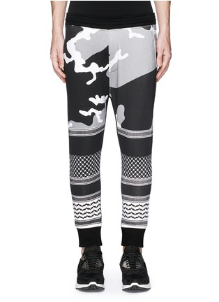 Main View - Click To Enlarge - Neil Barrett - Keffiyeh wave camouflage bonded jersey jogging pants