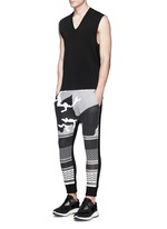 Keffiyeh wave camouflage bonded jersey jogging pants