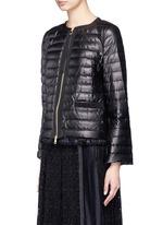 'Ombrine' ruffle hem padded leather jacket