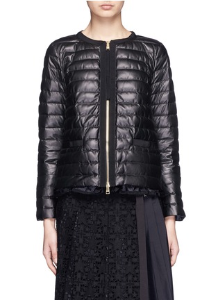 Main View - Click To Enlarge - Moncler - 'Ombrine' ruffle hem padded leather jacket