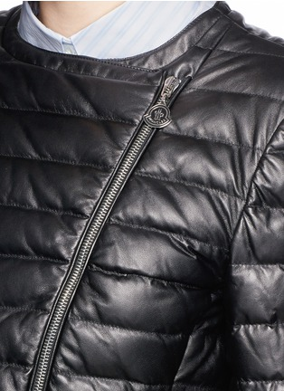 Detail View - Click To Enlarge - Moncler - 'Palomete' asymmetric zip padded leather jacket