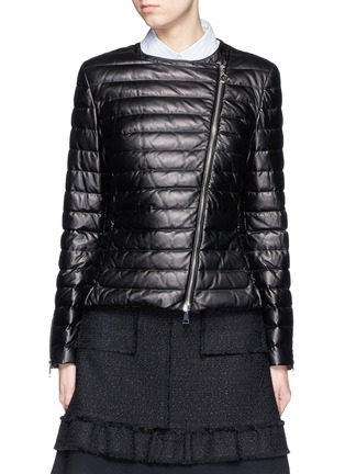 Main View - Click To Enlarge - Moncler - 'Palomete' asymmetric zip padded leather jacket