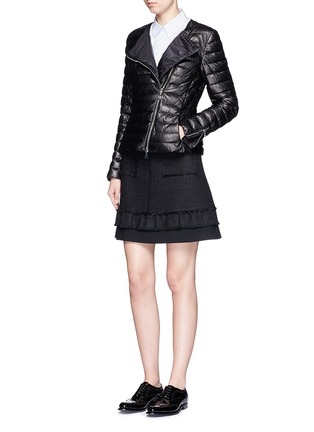 Figure View - Click To Enlarge - Moncler - 'Palomete' asymmetric zip padded leather jacket