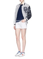 Cutoff cotton-tencel denim shorts