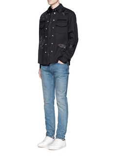 Valentino 'Camubutterfly Noir' embroidery appliqué military shirt jacket
