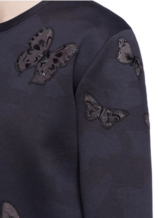 Detail View - Click To Enlarge - Valentino - 'Camubutterfly Noir' embroidery appliqué neoprene sweatshirt