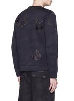 'Camubutterfly Noir' embroidery appliqué neoprene sweatshirt