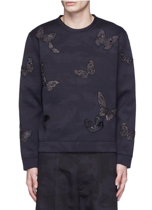 Main View - Click To Enlarge - Valentino - 'Camubutterfly Noir' embroidery appliqué neoprene sweatshirt