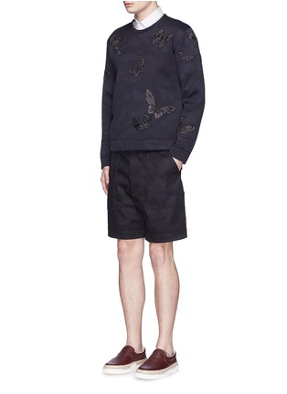 Figure View - Click To Enlarge - Valentino - 'Camubutterfly Noir' embroidery appliqué neoprene sweatshirt