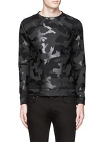 Sealed camouflage print bonded jersey sweatshirt