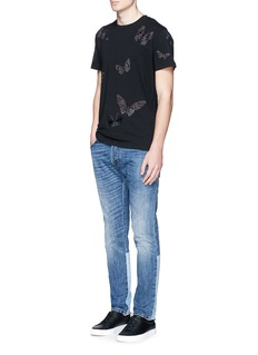 Valentino 'Camubutterfly Noir' embroidery appliqué T-shirt