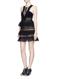 SELF PORTRAIT Lace-up tiered lace dress
