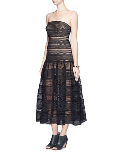 SELF PORTRAIT Circle lace drop waist midi dress