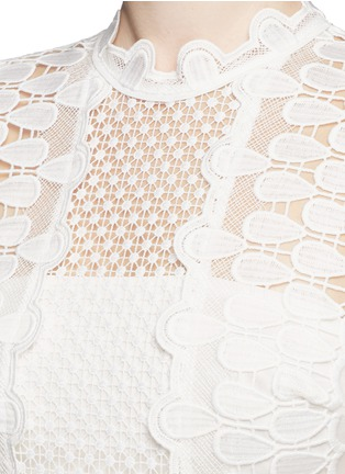 Detail View - Click To Enlarge - self-portrait - Sculptured teardrop lace peplum dress