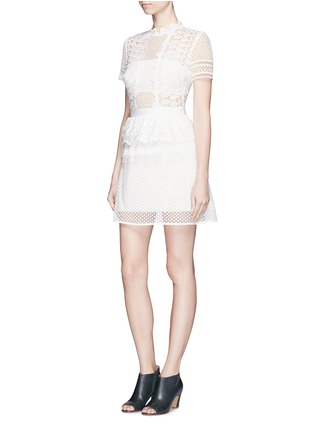 Figure View - Click To Enlarge - self-portrait - Sculptured teardrop lace peplum dress