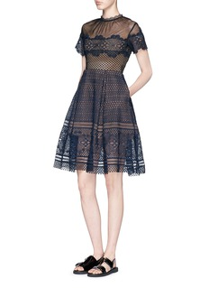 SELF PORTRAIT 'Felicia' circle lace skater dress