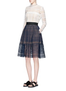 SELF PORTRAIT 'Sofia' circle lace midi skirt