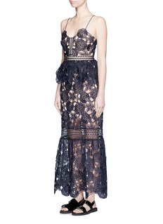 SELF PORTRAIT 'Amaryllis' sheer floral lace column dress