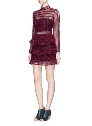 Figure View - Click To Enlarge - self-portrait - Circle lace panel high neck dress