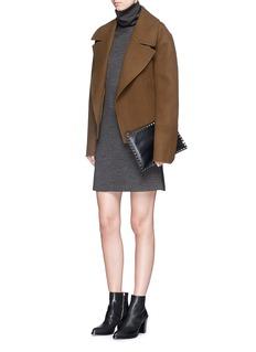 THEORY'Tajello' contrast houndstooth turtleneck dress