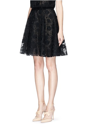 Front View - Click To Enlarge - Giamba - Floral lace organza flare skirt