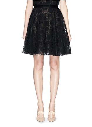 Main View - Click To Enlarge - Giamba - Floral lace organza flare skirt