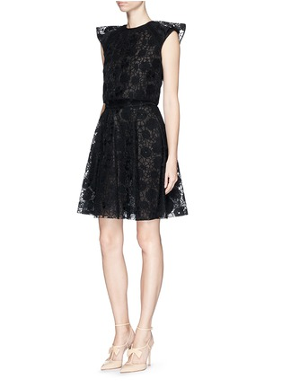 Figure View - Click To Enlarge - Giamba - Floral lace organza flare skirt