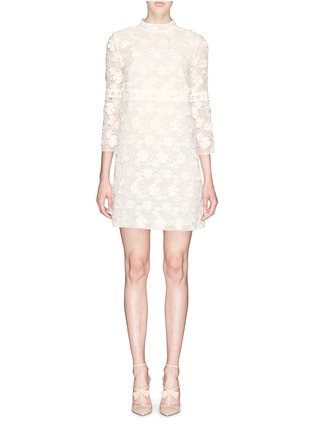 Main View - Click To Enlarge - Giamba - Floral lace organza high neck dress