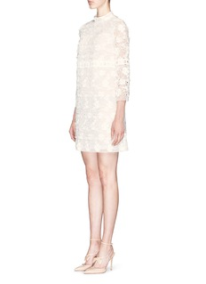 GIAMBA Floral lace organza high neck dress