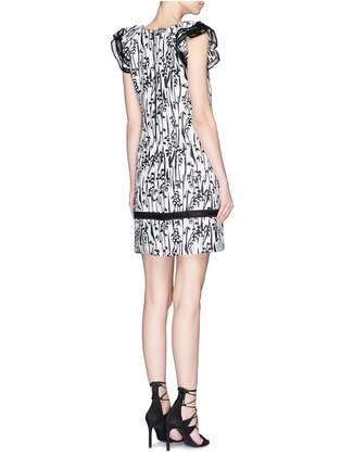 Back View - Click To Enlarge - Giamba - 'Abito' ladder stitch floral jacquard dress