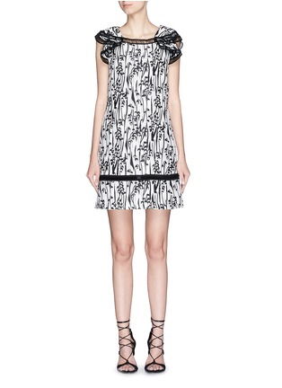 Main View - Click To Enlarge - Giamba - 'Abito' ladder stitch floral jacquard dress