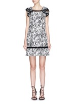 'Abito' ladder stitch floral jacquard dress