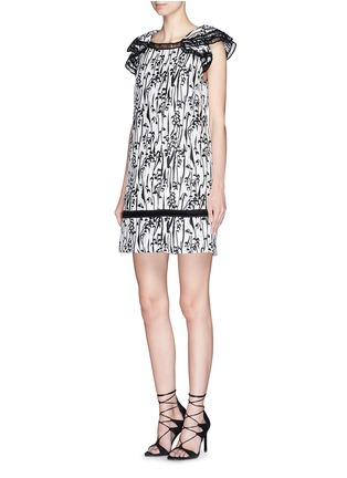Figure View - Click To Enlarge - Giamba - 'Abito' ladder stitch floral jacquard dress