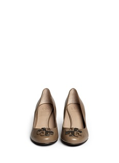 TORY BURCH'Lowell' metal colourblock logo leather wedge pumps