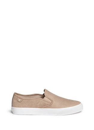 Main View - Click To Enlarge - Tory Burch - 'Lennon' cobra effect leather skate slip-ons