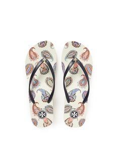 TORY BURCH'Mayfair' paisley print wedge flip flops