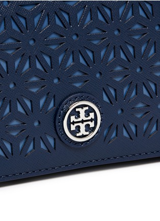 Detail View - Click To Enlarge - Tory Burch - 'Robinson' floral perforation saffiano leather chain bag