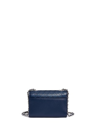 Back View - Click To Enlarge - Tory Burch - 'Robinson' floral perforation saffiano leather chain bag