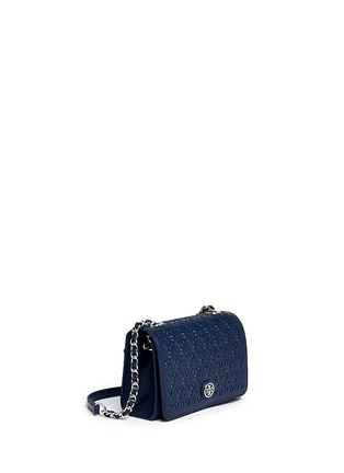 Front View - Click To Enlarge - Tory Burch - 'Robinson' floral perforation saffiano leather chain bag