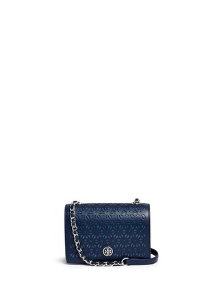 Main View - Click To Enlarge - Tory Burch - 'Robinson' floral perforation saffiano leather chain bag