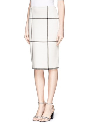Front View - Click To Enlarge - ST. JOHN - Check Milano knit pencil skirt