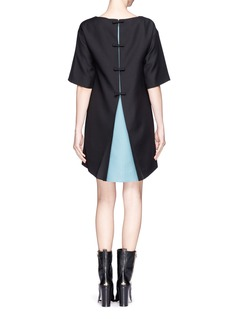 VALENTINO Contrast underlay pleat back crepe dress